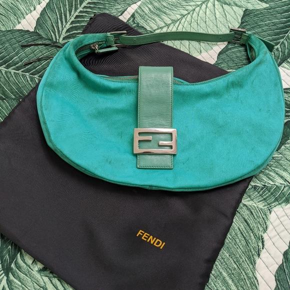 Fendi vintage green neoprene handbag